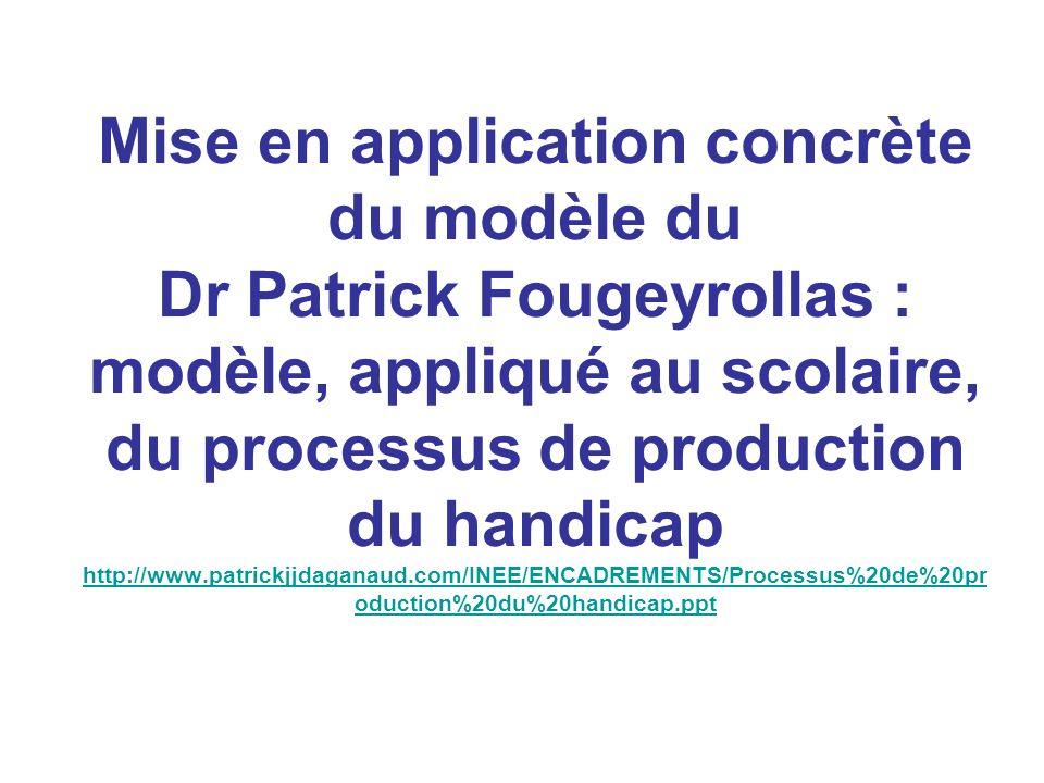 Mise en application concrète du modèle du Dr Patrick Fougeyrollas : modèle, appliqué au scolaire, du processus de production du handicap http://www.patrickjjdaganaud.com/INEE/ENCADREMENTS/Processus%20de%20production%20du%20handicap.ppt