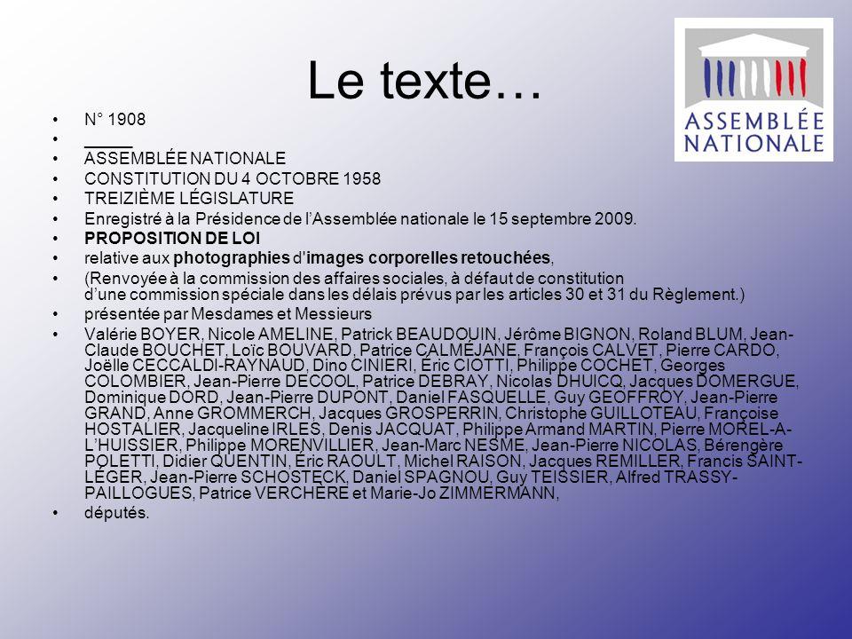 Le texte… N° 1908 _____ ASSEMBLÉE NATIONALE