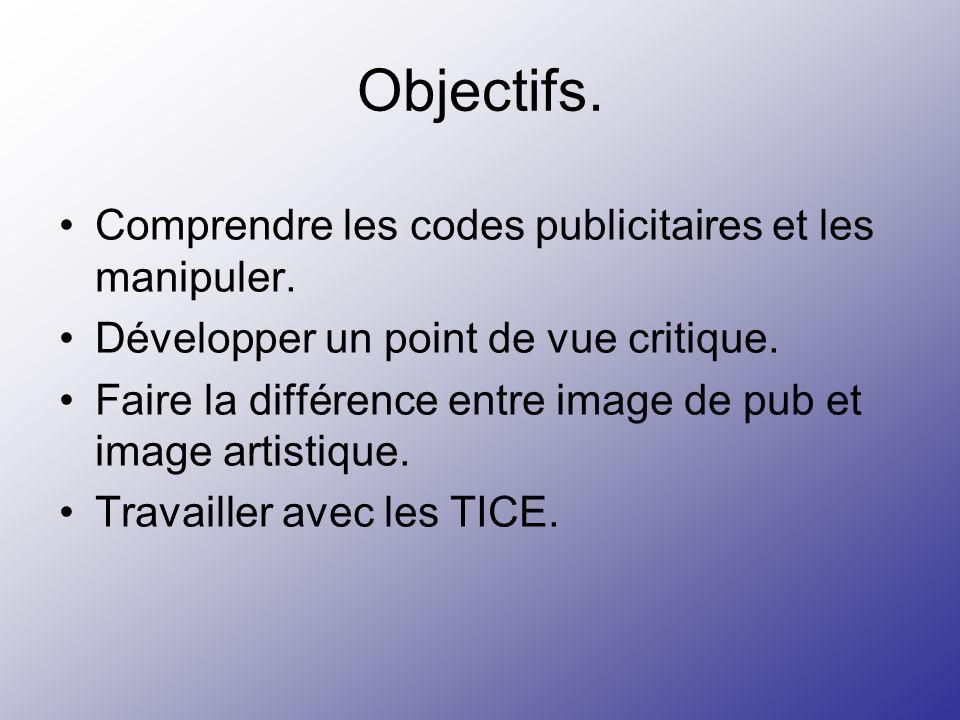 Objectifs. Comprendre les codes publicitaires et les manipuler.