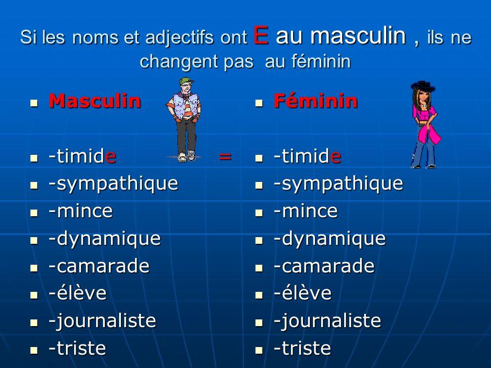 Si les noms et adjectifs ont E au masculin , ils ne changent pas au féminin