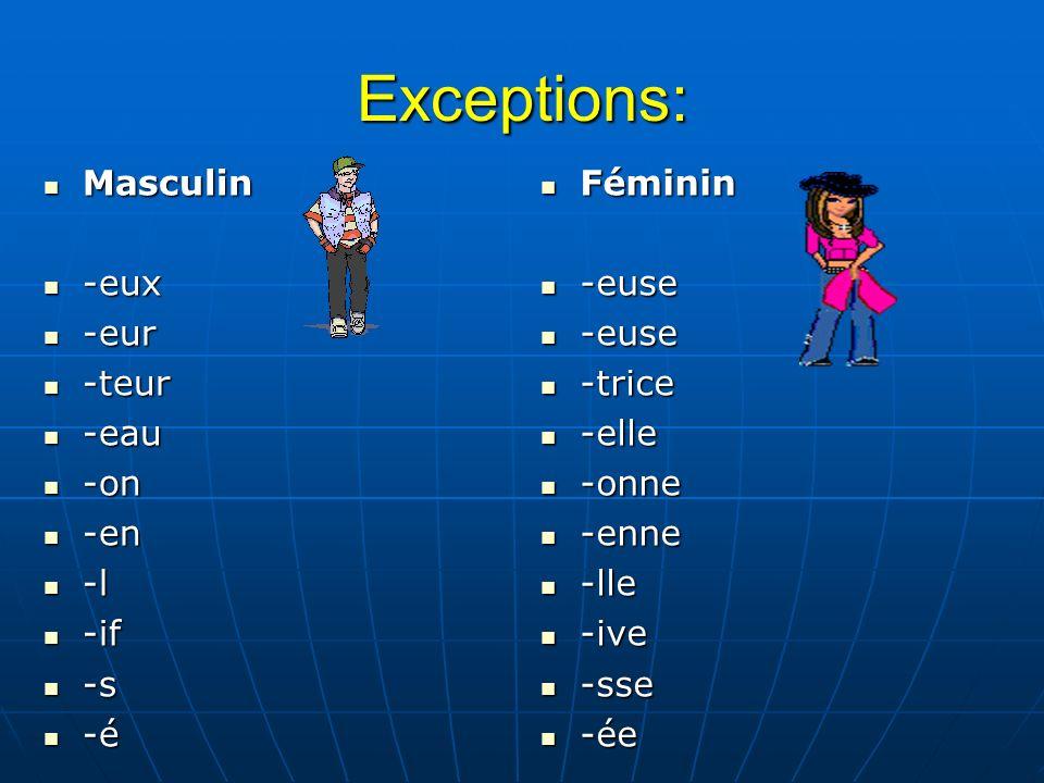 Exceptions: Masculin -eux -eur -teur -eau -on -en -l -if -s -é Féminin