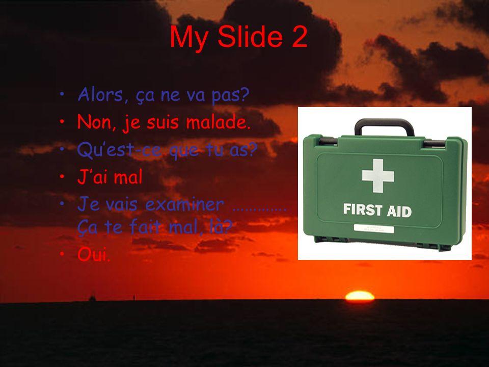 My Slide 2 Alors, ça ne va pas Non, je suis malade.