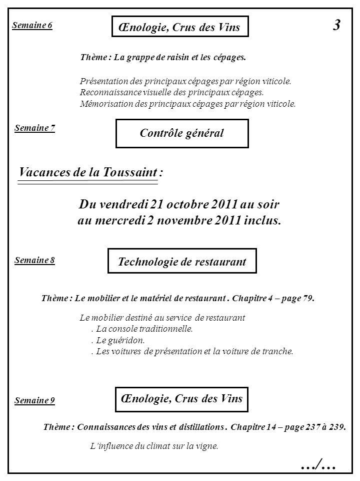 3 …/… Vacances de la Toussaint : Du vendredi 21 octobre 2011 au soir