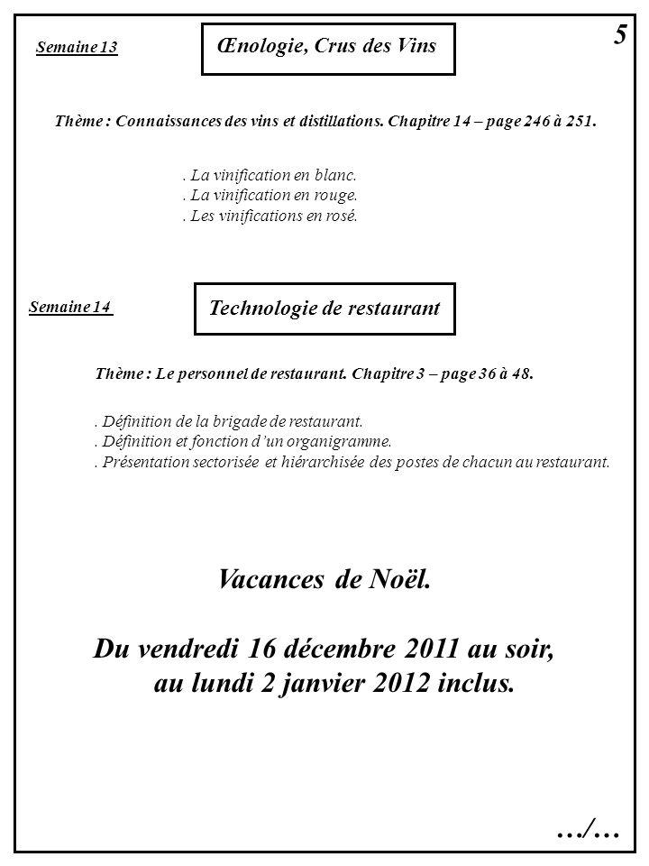 Du vendredi 16 décembre 2011 au soir, au lundi 2 janvier 2012 inclus.