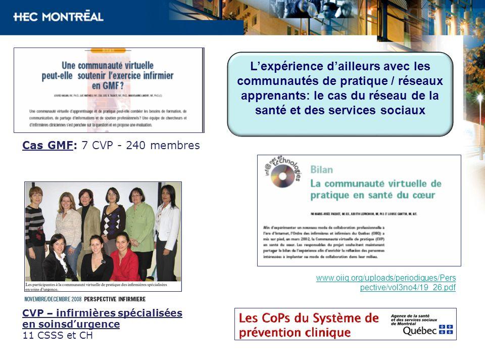 L'expérience d'ailleurs avec les communautés de pratique / réseaux apprenants: le cas du réseau de la santé et des services sociaux