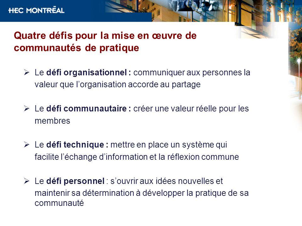 Quatre défis pour la mise en œuvre de communautés de pratique