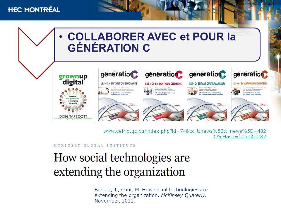 COLLABORER AVEC et POUR la GÉNÉRATION C