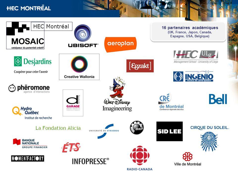 HEC Montréal 16 partenaires académiques (UK, France, Japon, Canada, Espagne, USA, Belgique)
