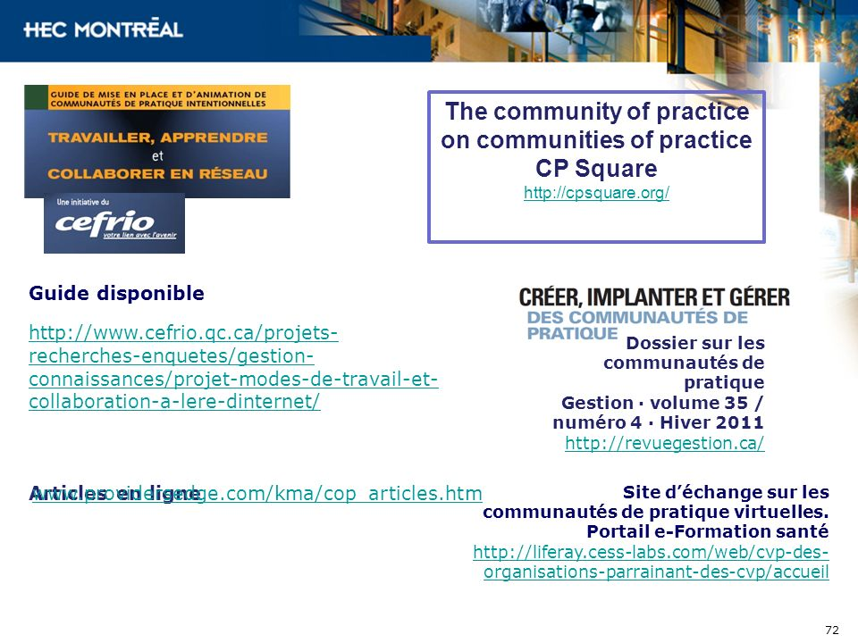 The community of practice on communities of practice