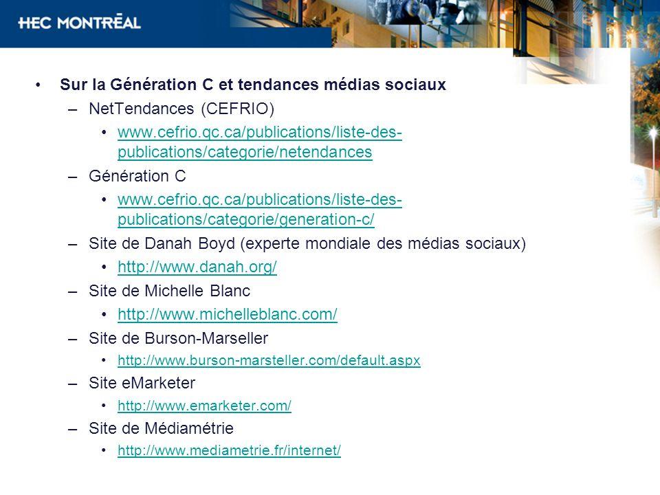 Sur la Génération C et tendances médias sociaux NetTendances (CEFRIO)