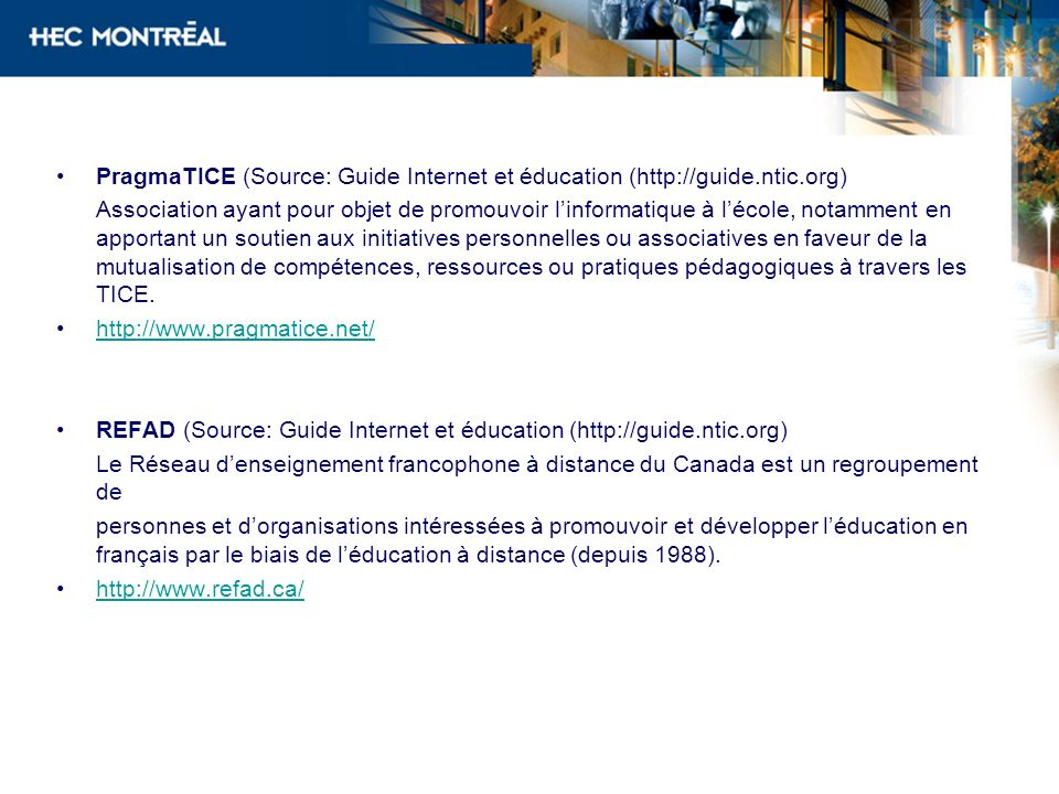 PragmaTICE (Source: Guide Internet et éducation (http://guide. ntic