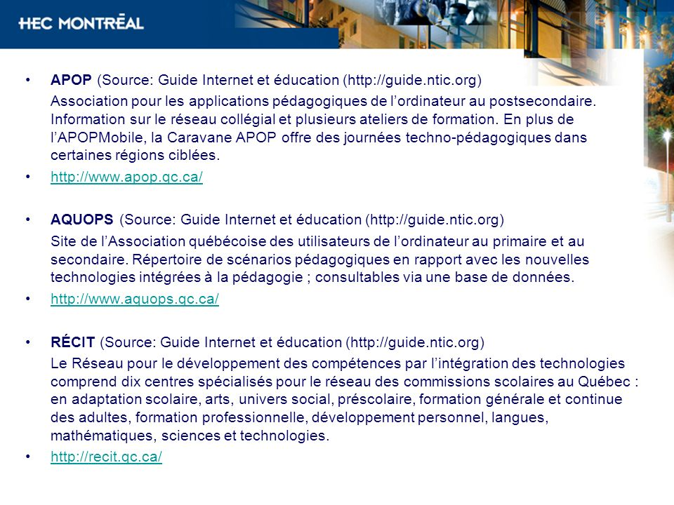 APOP (Source: Guide Internet et éducation (http://guide.ntic.org)