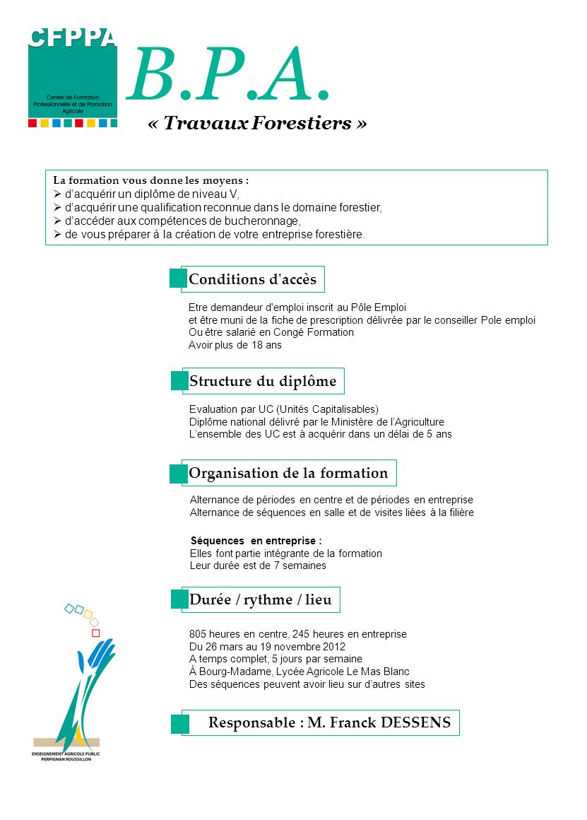 B.P.A. « Travaux Forestiers » Conditions d accès Structure du diplôme