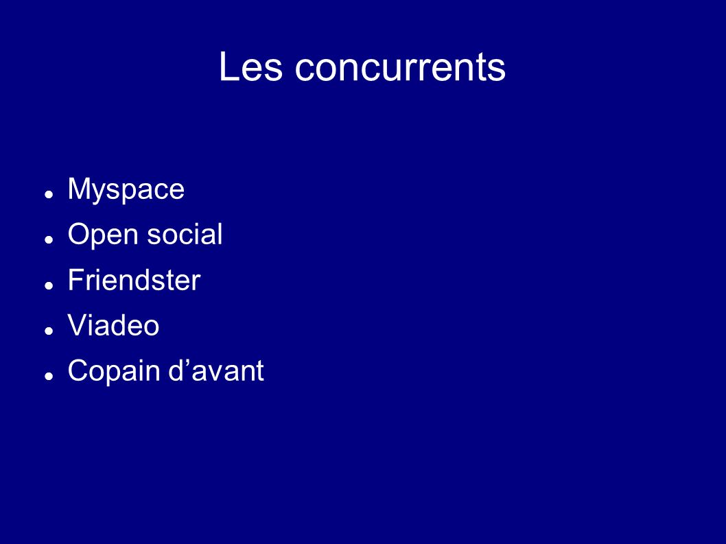 Les concurrents Myspace Open social Friendster Viadeo Copain d'avant