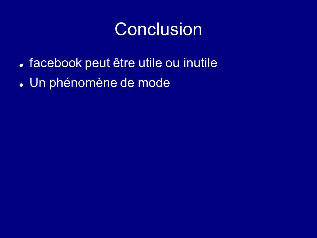 Conclusion facebook peut être utile ou inutile Un phénomène de mode