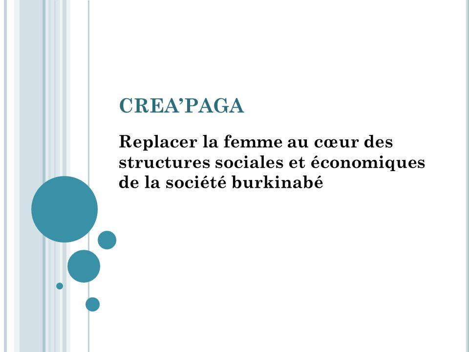 CREA'PAGA Replacer la femme au cœur des structures sociales et économiques de la société burkinabé.