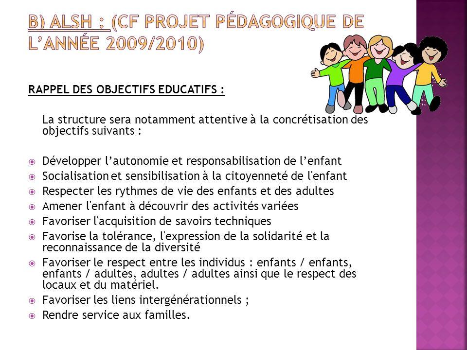 b) ALSH : (cf projet pédagogique de l'année 2009/2010)