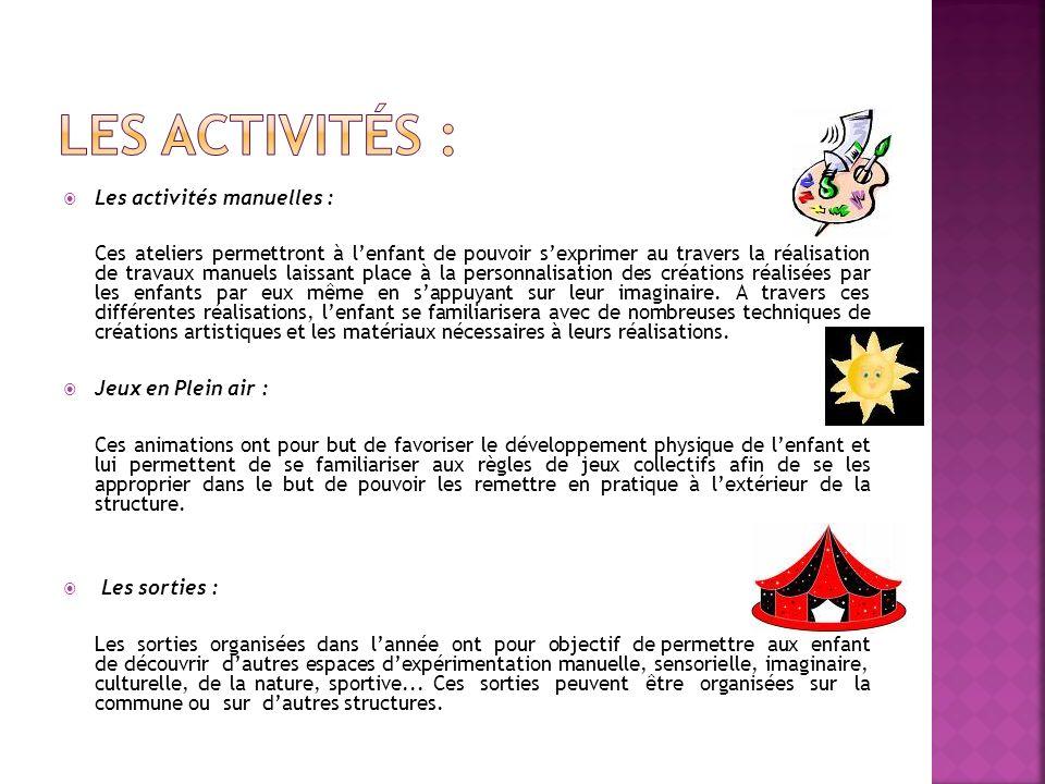 Les activités : Les activités manuelles :
