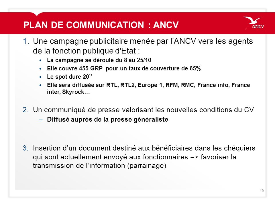 PLAN DE COMMUNICATION : ANCV