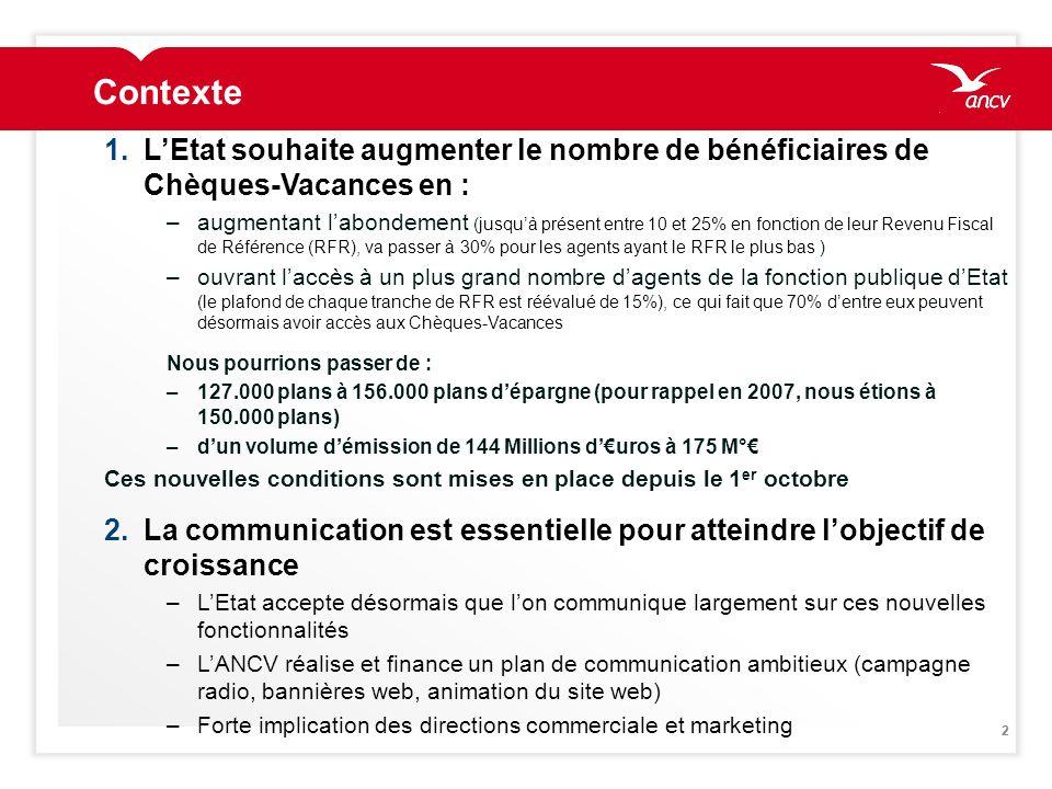 ContexteL'Etat souhaite augmenter le nombre de bénéficiaires de Chèques-Vacances en :