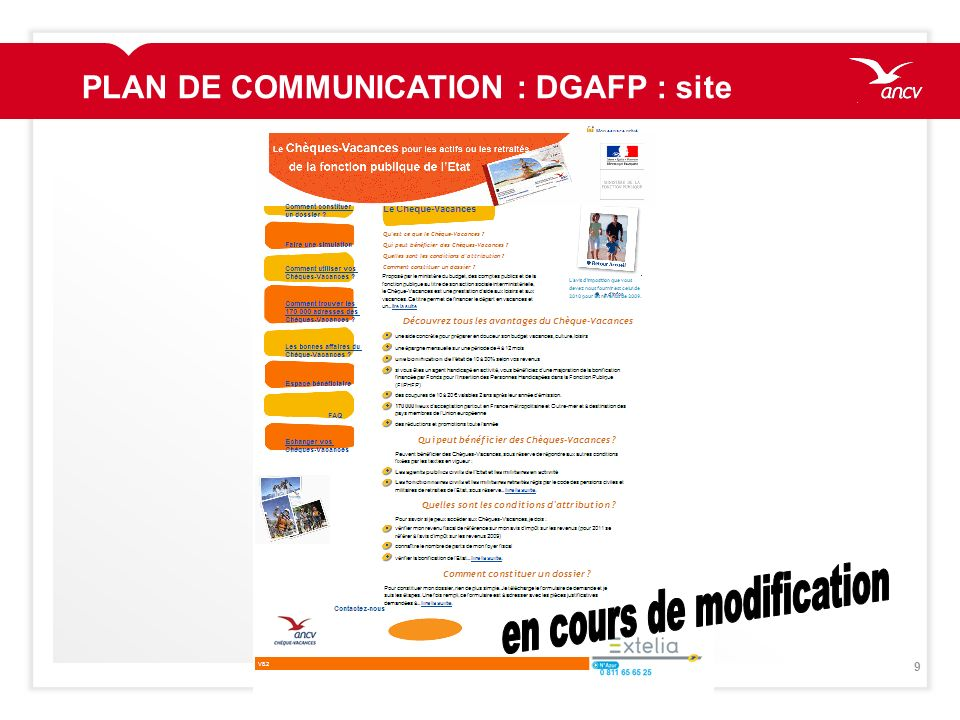 PLAN DE COMMUNICATION : DGAFP : site