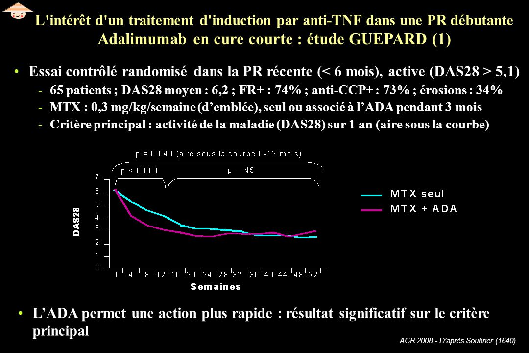 L intérêt d un traitement d induction par anti-TNF dans une PR débutante Adalimumab en cure courte : étude GUEPARD (1)