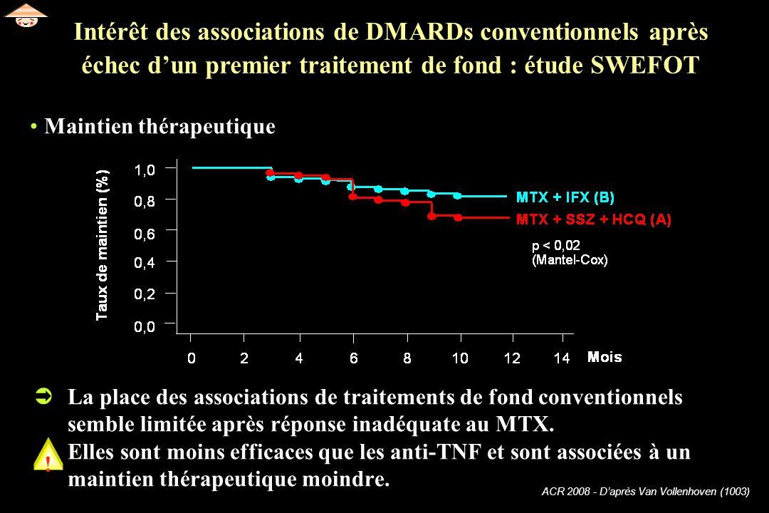63 Intérêt des associations de DMARDs conventionnels après échec d'un premier traitement de fond : étude SWEFOT.