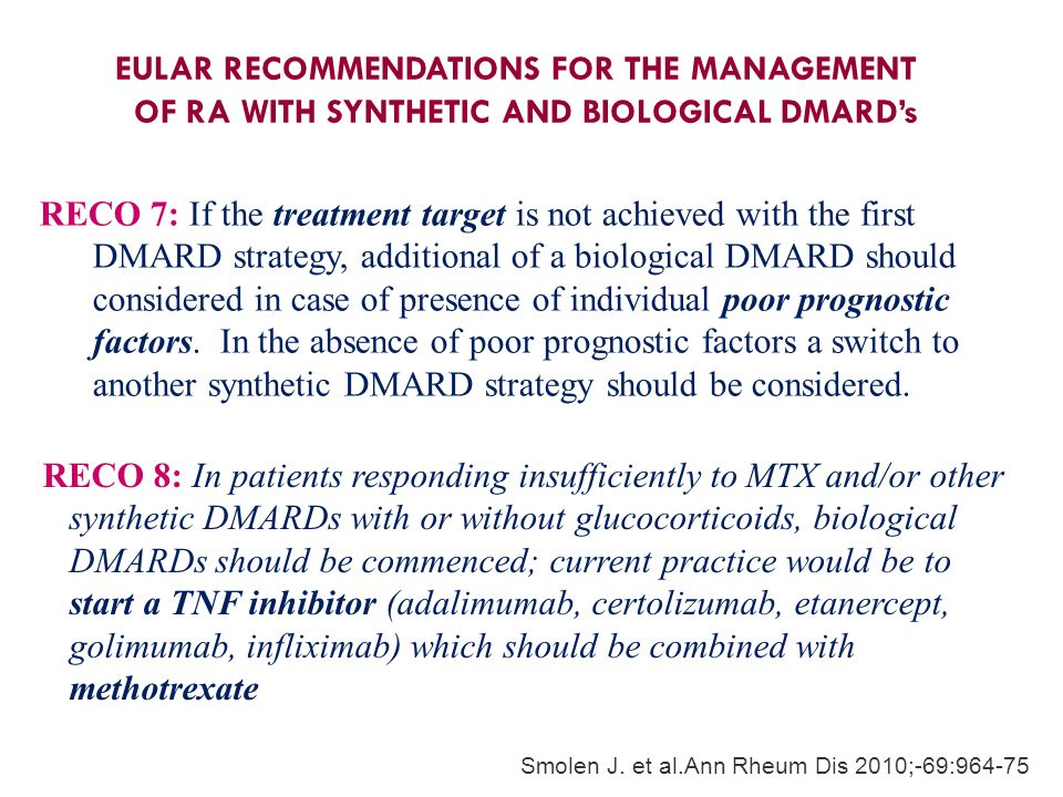 EULAR RECOMMENDATIONS FOR THE MANAGEMENT OF RA WITH SYNTHETIC AND BIOLOGICAL DMARD's