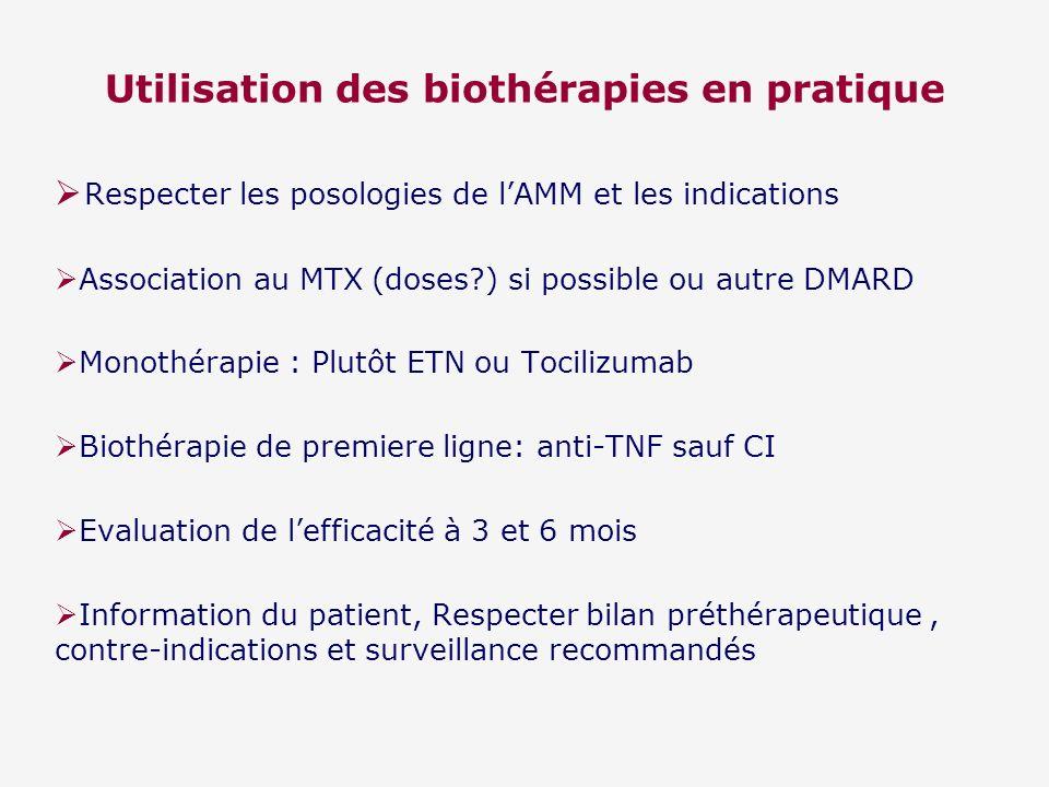 Utilisation des biothérapies en pratique