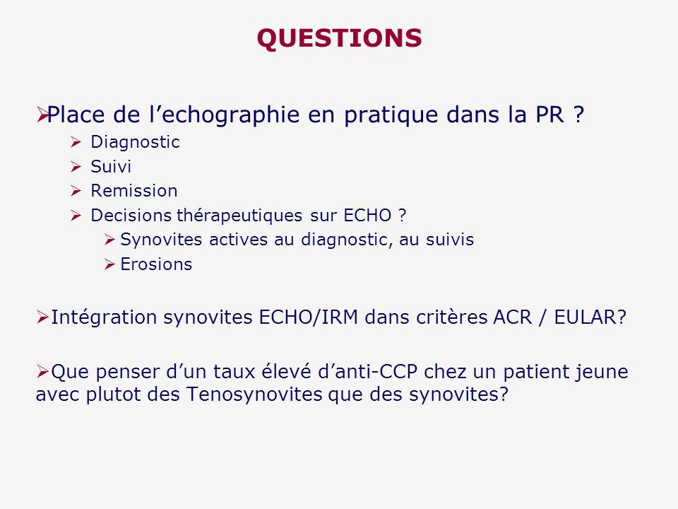 QUESTIONS Place de l'echographie en pratique dans la PR