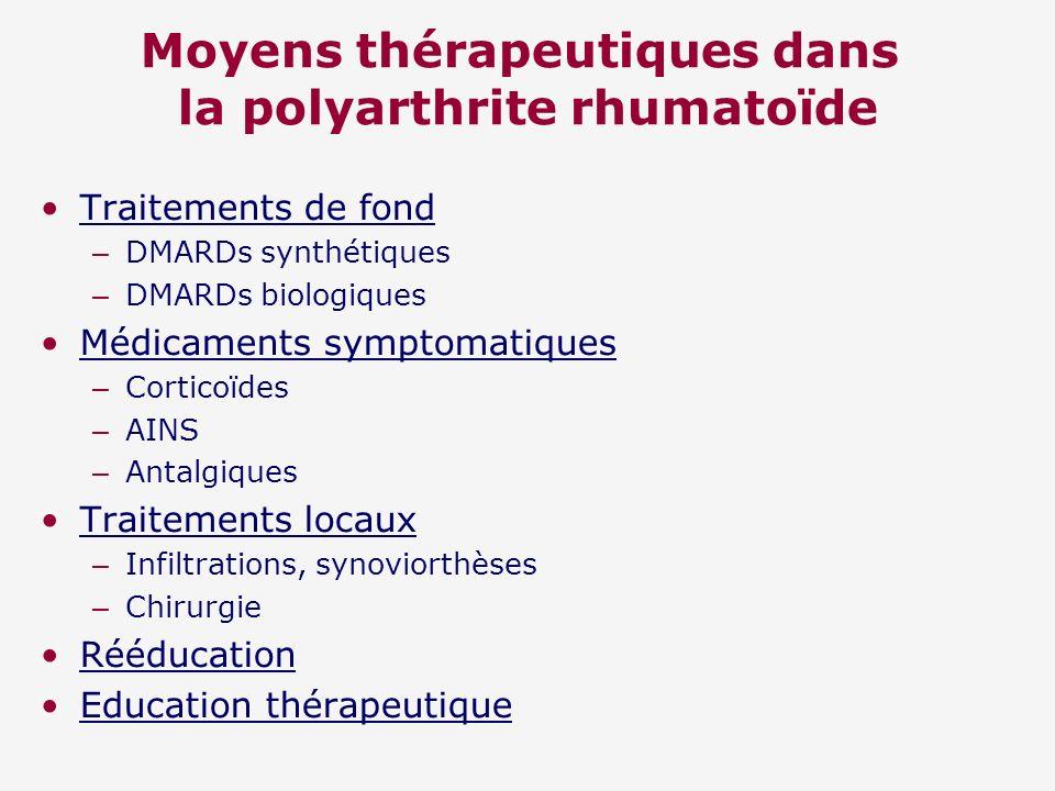 Moyens thérapeutiques dans la polyarthrite rhumatoïde