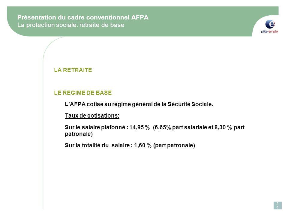 Présentation du cadre conventionnel AFPA La protection sociale: retraite de base
