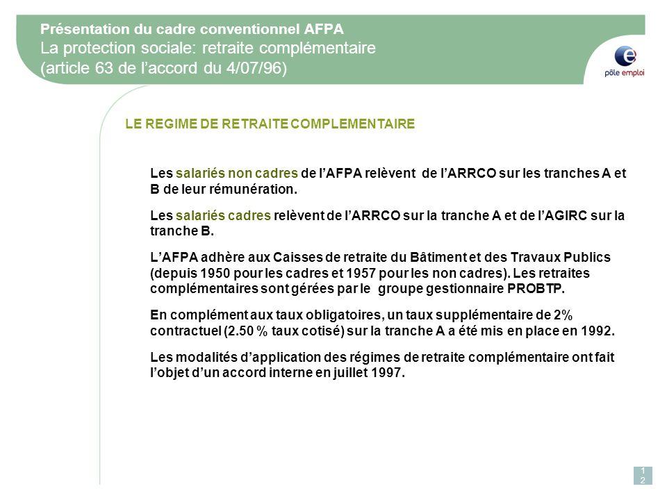 Présentation du cadre conventionnel AFPA La protection sociale: retraite complémentaire (article 63 de l'accord du 4/07/96)