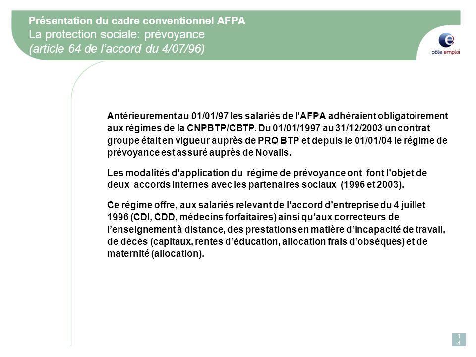 Présentation du cadre conventionnel AFPA La protection sociale: prévoyance (article 64 de l'accord du 4/07/96)
