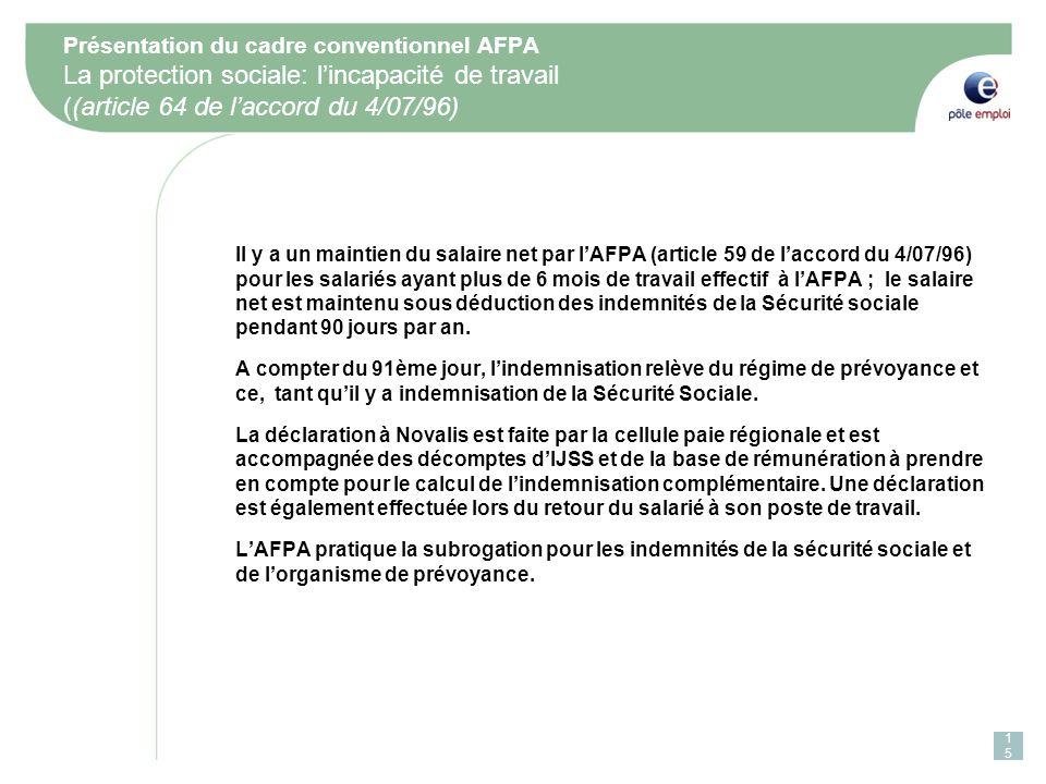 Présentation du cadre conventionnel AFPA La protection sociale: l'incapacité de travail ((article 64 de l'accord du 4/07/96)