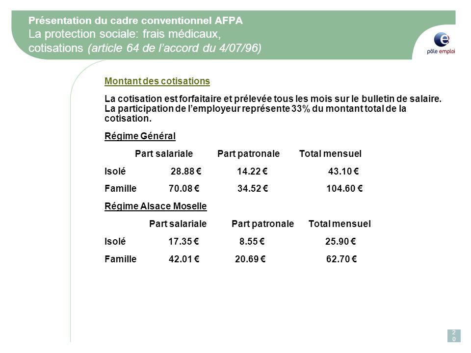 Présentation du cadre conventionnel AFPA La protection sociale: frais médicaux, cotisations (article 64 de l'accord du 4/07/96)