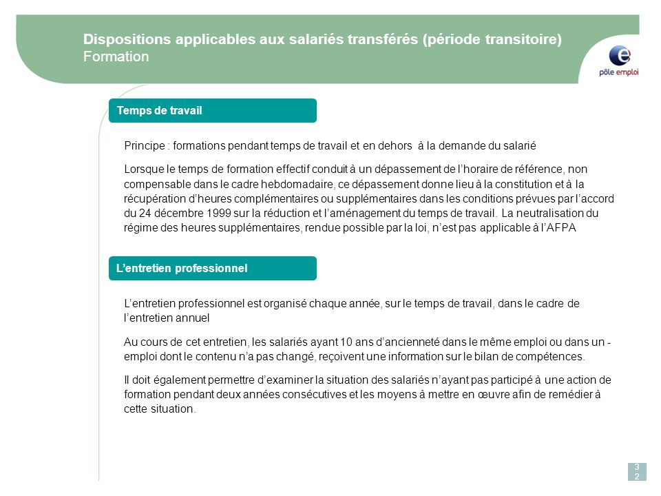 Dispositions applicables aux salariés transférés (période transitoire)
