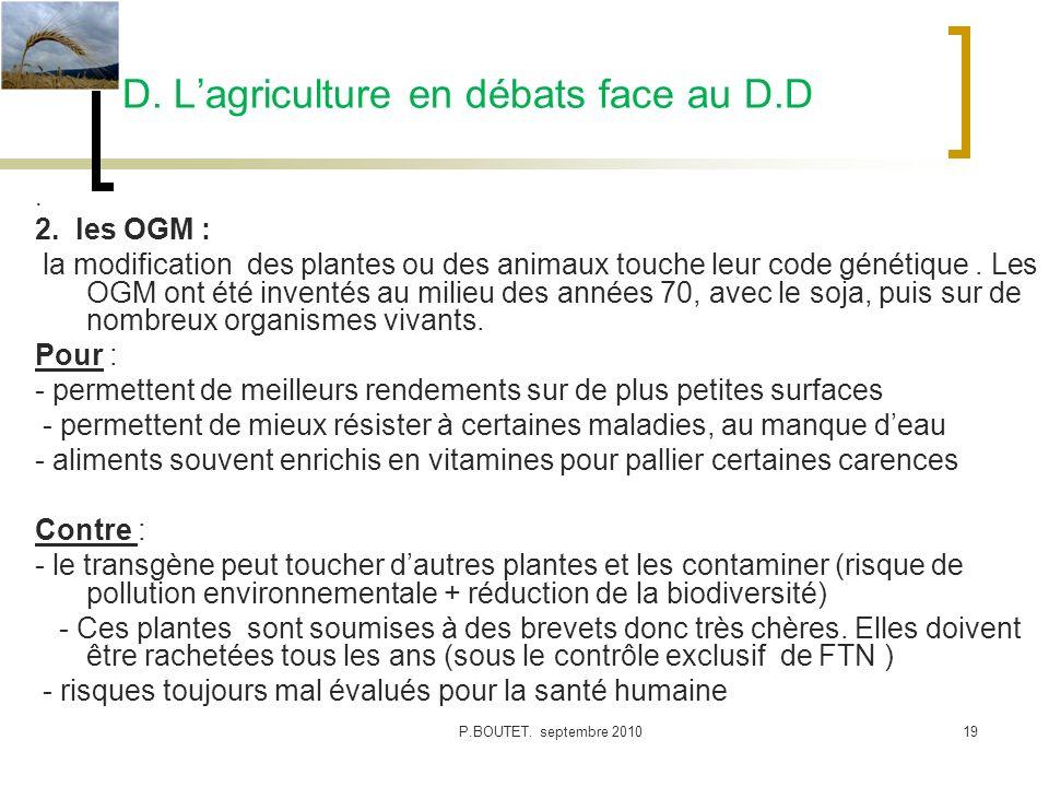 D. L'agriculture en débats face au D.D