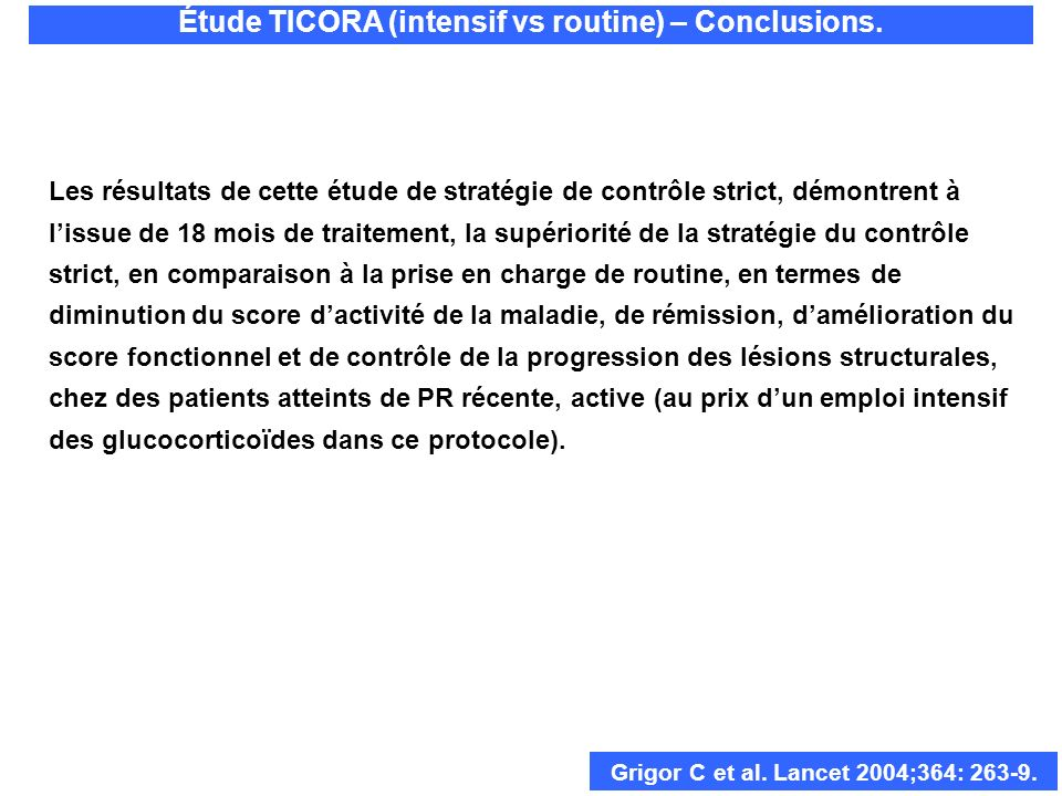 Étude TICORA (intensif vs routine) – Conclusions.
