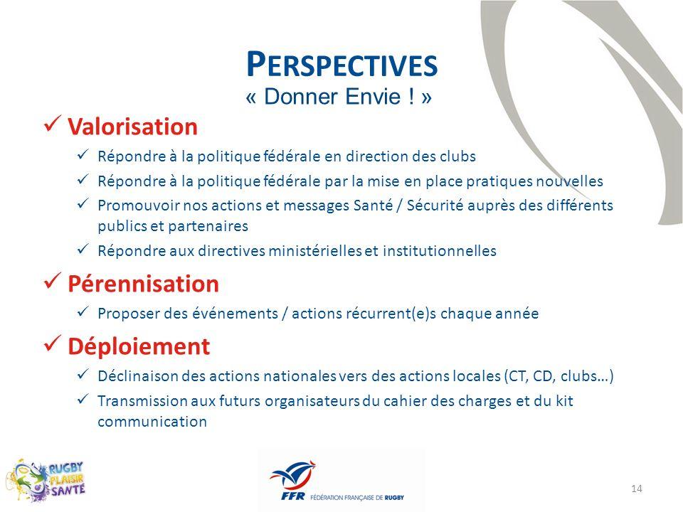 Perspectives Valorisation Pérennisation Déploiement « Donner Envie ! »