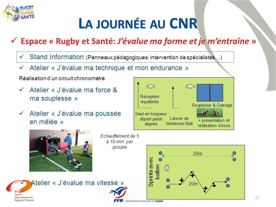 La journée au CNREspace « Rugby et Santé: J'évalue ma forme et je m'entraîne »