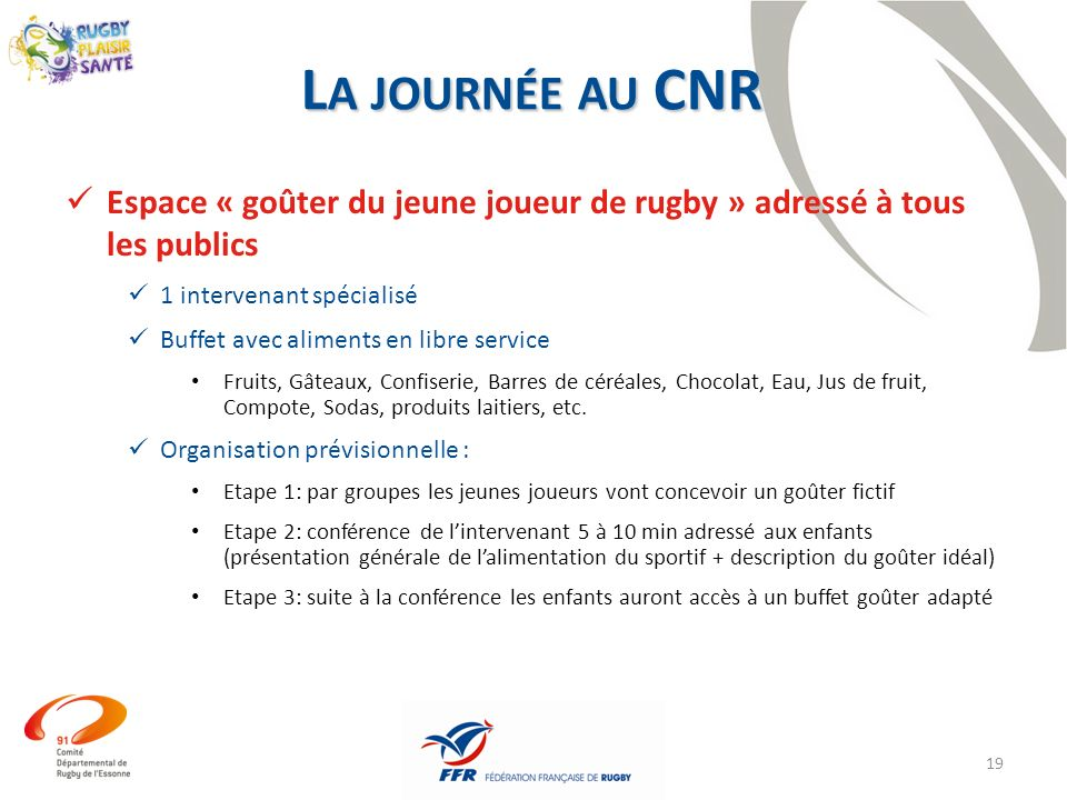 La journée au CNR Espace « goûter du jeune joueur de rugby » adressé à tous les publics. 1 intervenant spécialisé.