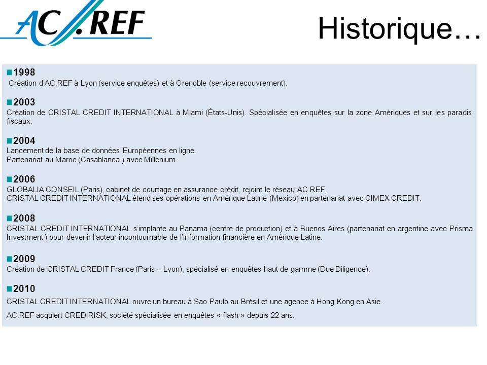 Historique…1998. Création d'AC.REF à Lyon (service enquêtes) et à Grenoble (service recouvrement). 2003.