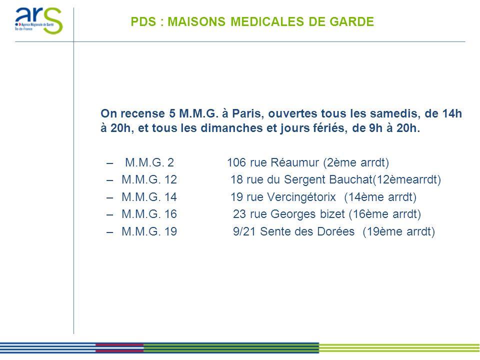 PDS : MAISONS MEDICALES DE GARDE
