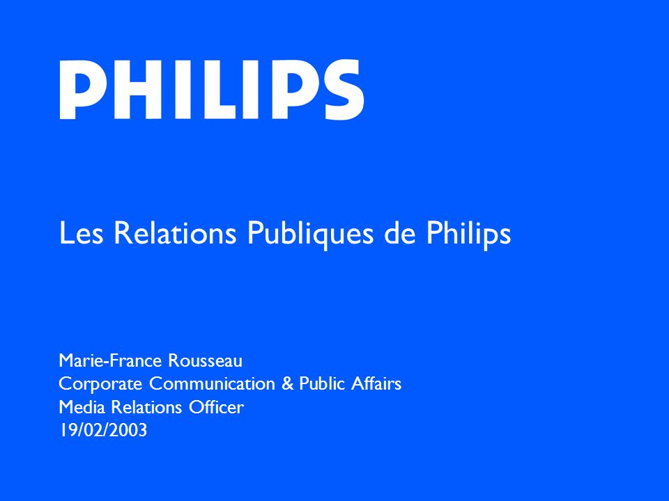 Les Relations Publiques de Philips