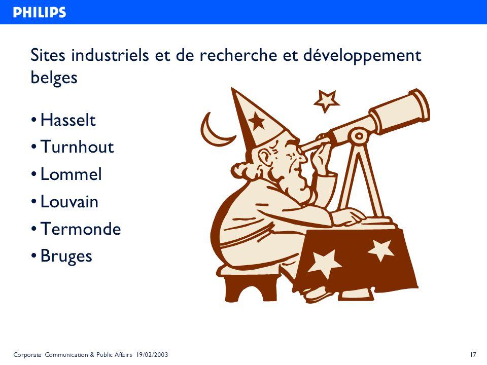 Sites industriels et de recherche et développement belges
