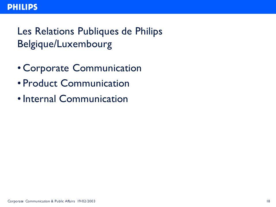 Les Relations Publiques de Philips Belgique/Luxembourg