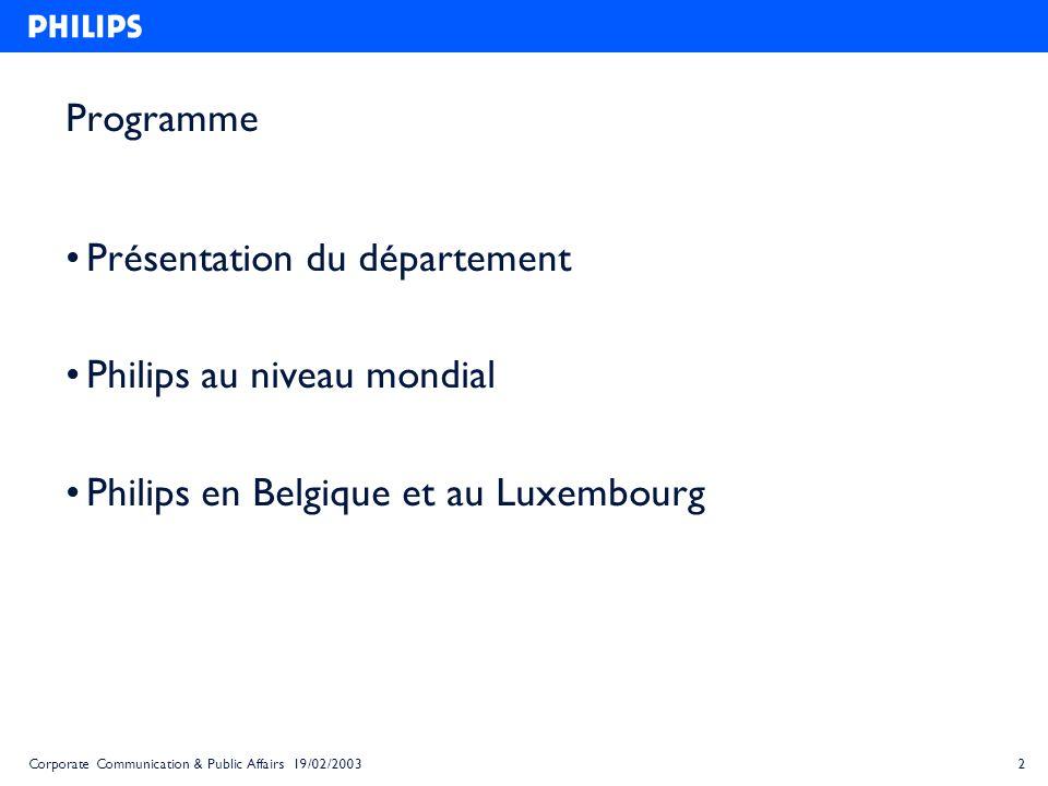 Présentation du département Philips au niveau mondial