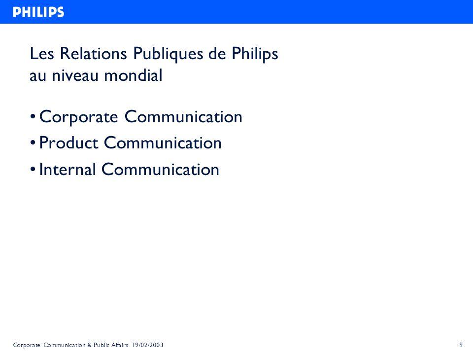 Les Relations Publiques de Philips au niveau mondial