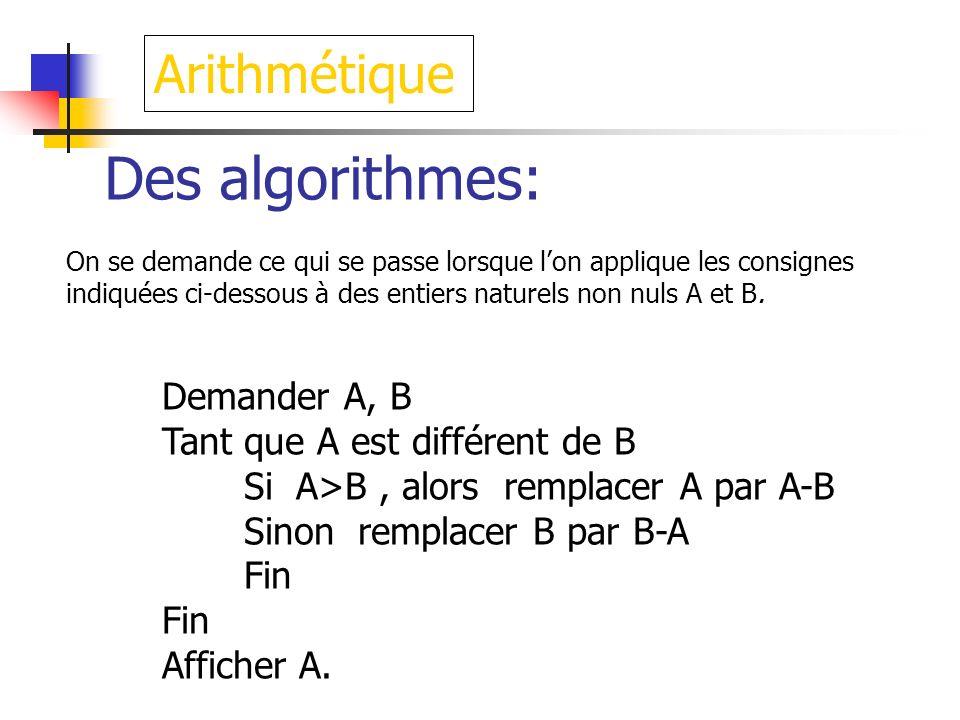 Des algorithmes: Arithmétique Demander A, B